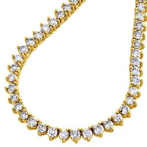 Jewelry - 3 Prong 14K Yellow Gold Finish Tennis Necklace